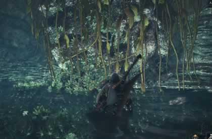 洞窟内の円柱型の柱