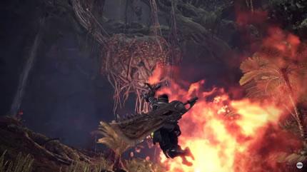 火の前でスリンガーを使ってロープアクションでジャンプする画像