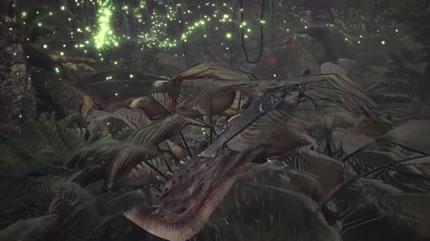 植物の茂みに身を隠すハンターの画像