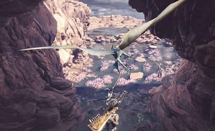 メルノスにぶらさがったハンターの画像