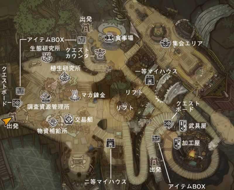 拠点アステラの施設がある場所のマップ
