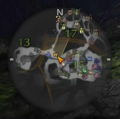 エリア13へ向かう途中のマップ